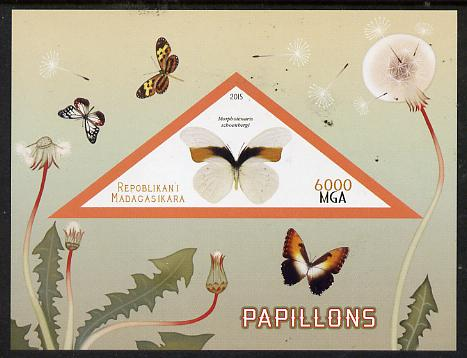 Madagascar 2015 Butterflies #1 imperf deluxe sheet containing one triangular value unmounted mint