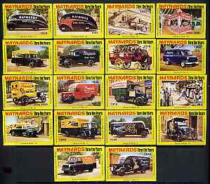Match Box Labels - complete set of 18 Maynards Thru The Years (Mainly vehicles), superb unused condition (Cornish Match Co for Maynards)