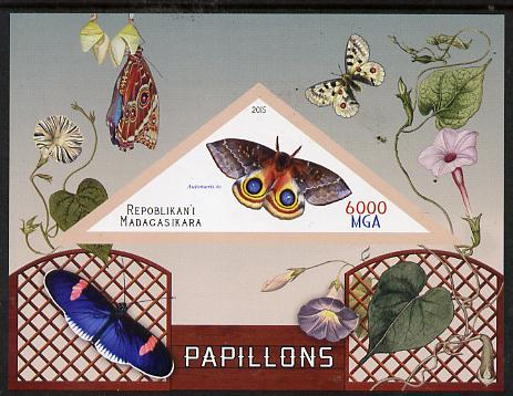 Madagascar 2015 Butterflies #2 imperf deluxe sheet containing one triangular value unmounted mint