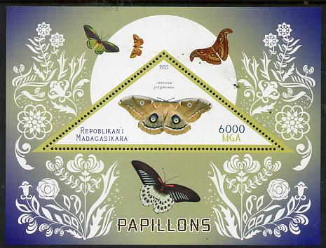 Madagascar 2015 Butterflies #3 perf deluxe sheet containing one triangular value unmounted mint
