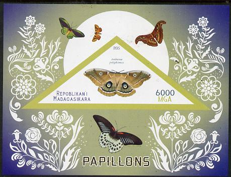 Madagascar 2015 Butterflies #3 imperf deluxe sheet containing one triangular value unmounted mint