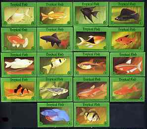 Match Box Labels - complete set of 18 Tropical Fish, superb unused condition (Cornish Match Co)