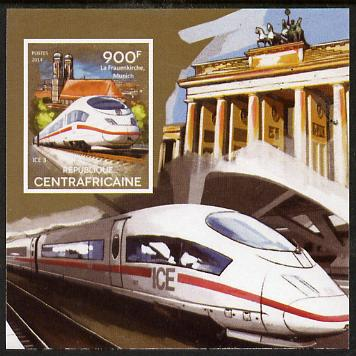 Central African Republic 2015 High Speed Trains #1 imperf deluxe sheet unmounted mint. Note this item is privately produced and is offered purely on its thematic appeal