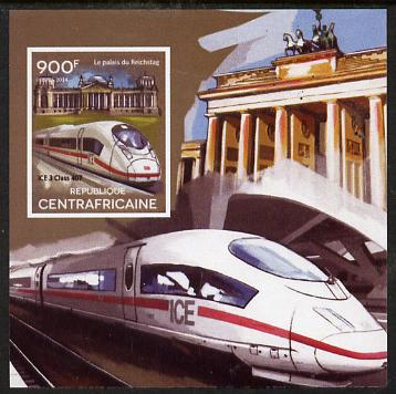 Central African Republic 2015 High Speed Trains #2 imperf deluxe sheet unmounted mint. Note this item is privately produced and is offered purely on its thematic appeal