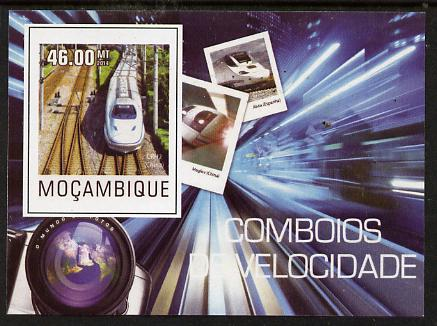 Mozambique 2015 High Speed Trains #1 imperf deluxe sheet unmounted mint. Note this item is privately produced and is offered purely on its thematic appeal