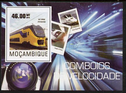 Mozambique 2015 High Speed Trains #2vimperf deluxe sheet unmounted mint. Note this item is privately produced and is offered purely on its thematic appeal