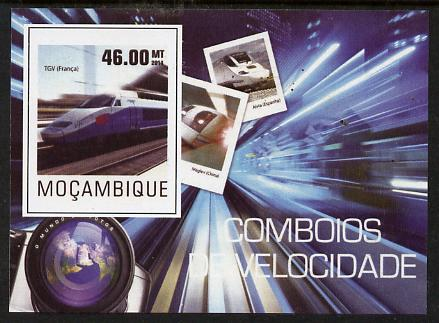 Mozambique 2015 High Speed Trains #3 imperf deluxe sheet unmounted mint. Note this item is privately produced and is offered purely on its thematic appeal