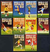 Match Box Labels - complete set of 10 World Cup Football 1982, superb unused condition (Cornish Match Co)