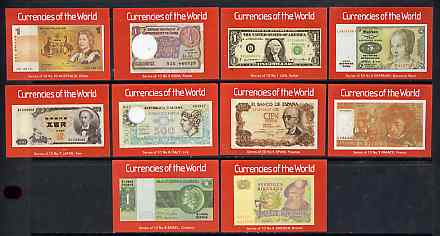 Match Box Labels - complete set of 10 Currencies of the World, superb unused condition (Cornish Match Co)