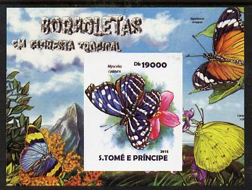 St Thomas & Prince Islands 2015 Butterflies #1 imperf deluxe m/sheet unmounted mint. Note this item is privately produced and is offered purely on its thematic appeal
