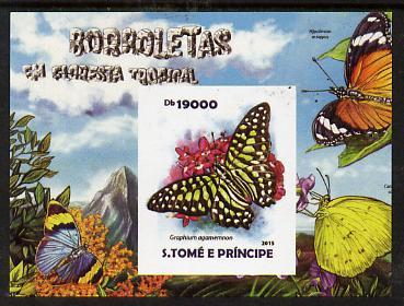 St Thomas & Prince Islands 2015 Butterflies #3 imperf deluxe m/sheet unmounted mint. Note this item is privately produced and is offered purely on its thematic appeal