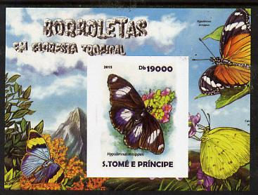 St Thomas & Prince Islands 2015 Butterflies #4 imperf deluxe m/sheet unmounted mint. Note this item is privately produced and is offered purely on its thematic appeal