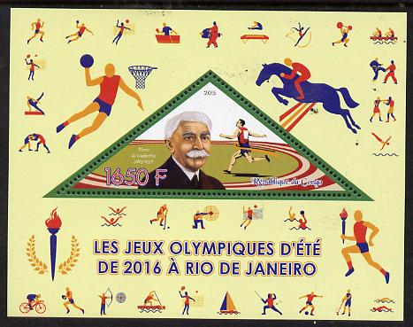 Congo 2015 Rio Olympic Games perf deluxe sheet containing one triangular value unmounted mint
