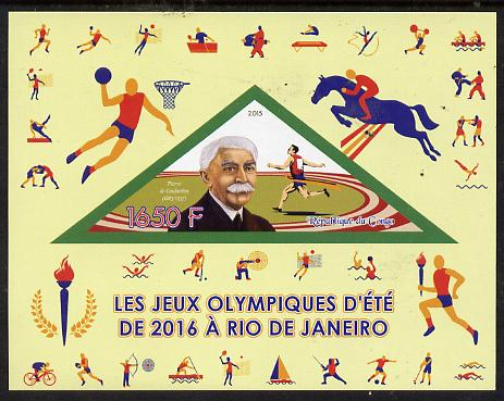 Congo 2015 Rio Olympic Games imperf deluxe sheet containing one triangular value unmounted mint