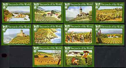 Match Box Labels - complete set of 10 Vineyards of the World, superb unused condition (Cornish Match Co)