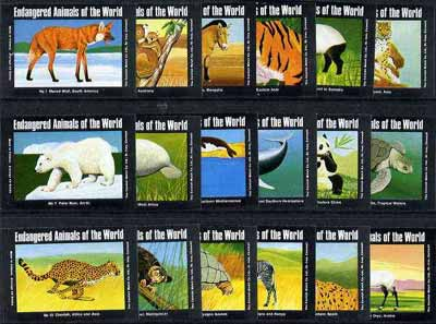 Match Box Labels - complete set of 18 Endangered Animals of the World, superb unused condition (Cornish Match Co)