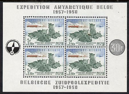 Belgium 1957 Belgian Antarctic Expedition (Sledge Dogs) perf m/sheet unmounted mint SG MS1620