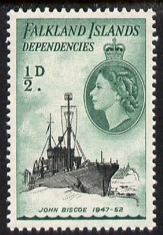 Falkland Islands Dependencies 1954-62 Ships 1/2d John Biscoe the scarce De La Rue printing unmounted mint, SG G26a, stamps on ships