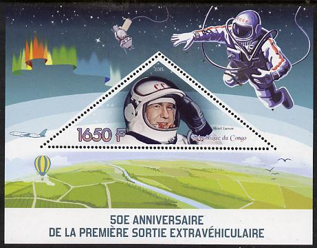 Congo 2015 50th Anniversary of First Space Walk perf deluxe sheet containing one triangular stamp unmounted mint