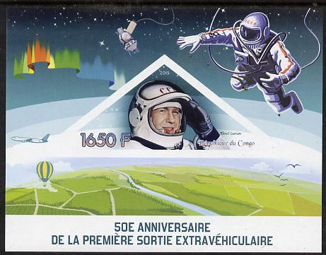 Congo 2015 50th Anniversary of First Space Walk imperf deluxe sheet containing one triangular stamp unmounted mint
