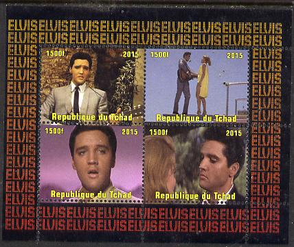 Chad 2015 Elvis Presley #4 perf sheetlet containing 4 values unmounted mint. Note this item is privately produced and is offered purely on its thematic appeal. .