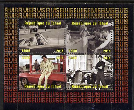 Chad 2015 Elvis Presley #5 perf sheetlet containing 4 values unmounted mint. Note this item is privately produced and is offered purely on its thematic appeal. .