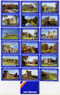 Match Box Labels - complete set of 18+1 Great British Castles, superb unused condition (John Menzies)