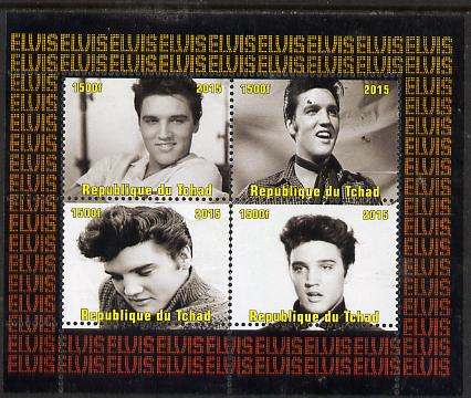 Chad 2015 Elvis Presley #9 perf sheetlet containing 4 values unmounted mint. Note this item is privately produced and is offered purely on its thematic appeal. .