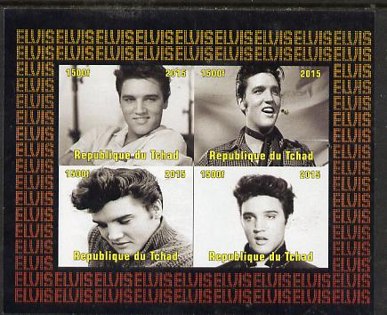 Chad 2015 Elvis Presley #9 imperf sheetlet containing 4 values unmounted mint. Note this item is privately produced and is offered purely on its thematic appeal. .