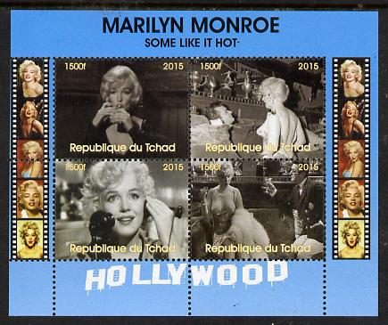 Chad 2015 Marilyn Monroe - Some Like it Hot perf sheetlet containing 4 values unmounted mint. Note this item is privately produced and is offered purely on its thematic appeal. .