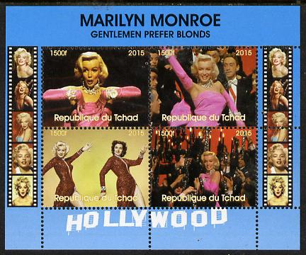 Chad 2015 Marilyn Monroe - Gentlemen Prefer Blondes perf sheetlet containing 4 values unmounted mint. Note this item is privately produced and is offered purely on its thematic appeal. .