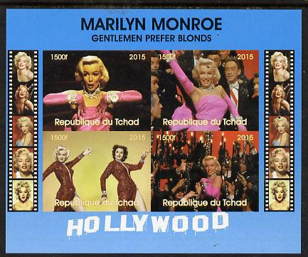 Chad 2015 Marilyn Monroe - Gentlemen Prefer Blondes imperf sheetlet containing 4 values unmounted mint. Note this item is privately produced and is offered purely on its thematic appeal. .