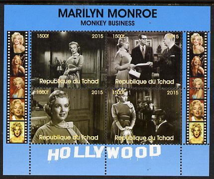 Chad 2015 Marilyn Monroe - Monkey Business perf sheetlet containing 4 values unmounted mint. Note this item is privately produced and is offered purely on its thematic appeal. .