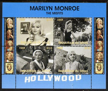 Chad 2015 Marilyn Monroe - The Misfits perf sheetlet containing 4 values unmounted mint. Note this item is privately produced and is offered purely on its thematic appeal. .