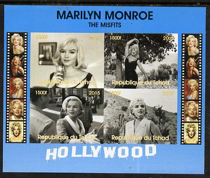 Chad 2015 Marilyn Monroe - The Misfits imperf sheetlet containing 4 values unmounted mint. Note this item is privately produced and is offered purely on its thematic appeal. .
