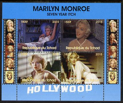 Chad 2015 Marilyn Monroe - Seven Year Itch perf sheetlet containing 4 values unmounted mint. Note this item is privately produced and is offered purely on its thematic appeal. .