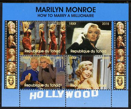 Chad 2015 Marilyn Monroe - How to Marry a Millionaire perf sheetlet containing 4 values unmounted mint. Note this item is privately produced and is offered purely on its thematic appeal. .