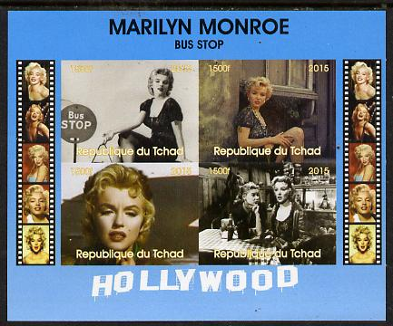 Chad 2015 Marilyn Monroe - Bus Stop im perf sheetlet containing 4 values unmounted mint. Note this item is privately produced and is offered purely on its thematic appeal. .