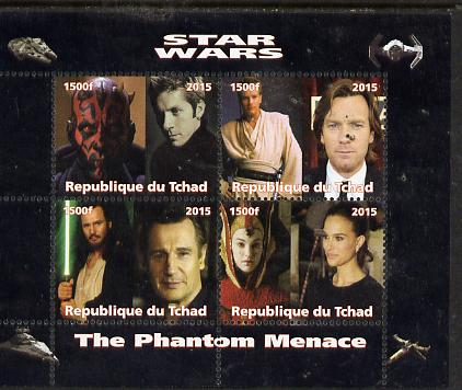 Chad 2015 Star Wars - The Phantom Menace perf sheetlet containing 4 values unmounted mint. Note this item is privately produced and is offered purely on its thematic appeal. .