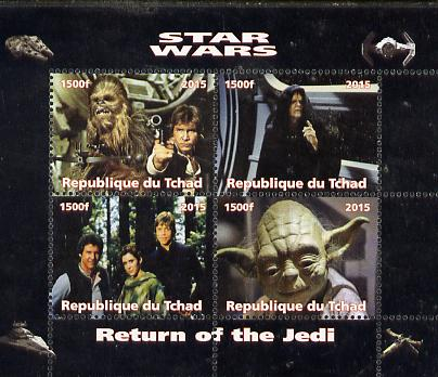 Chad 2015 Star Wars - Return of the Jedi perf sheetlet containing 4 values unmounted mint. Note this item is privately produced and is offered purely on its thematic appe...