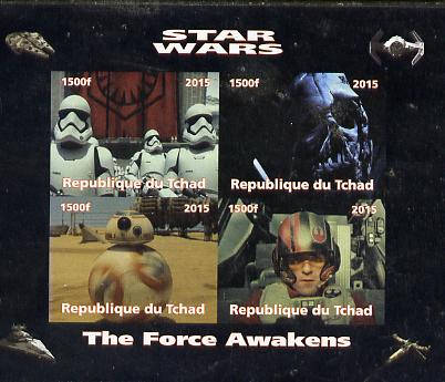 Chad 2015 Star Wars - The Force Awakens imperf sheetlet containing 4 values unmounted mint. Note this item is privately produced and is offered purely on its thematic app...