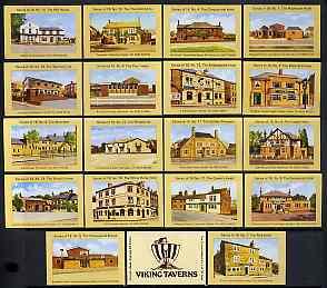 Match Box Labels - complete set of 18+1 Viking Taverns, superb unused condition (Cornish Match Co)