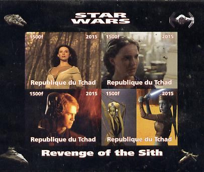 Chad 2015 Star Wars - Revenge of the Sith imperf sheetlet containing 4 values unmounted mint. Note this item is privately produced and is offered purely on its thematic a...