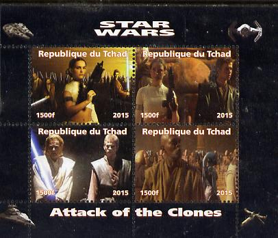 Chad 2015 Star Wars - Attack of the Clones perf sheetlet containing 4 values unmounted mint. Note this item is privately produced and is offered purely on its thematic appeal. .