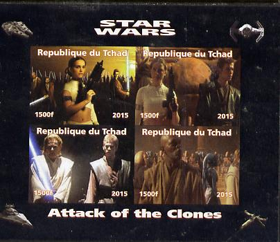 Chad 2015 Star Wars - Attack of the Clones imperf sheetlet containing 4 values unmounted mint. Note this item is privately produced and is offered purely on its thematic ...