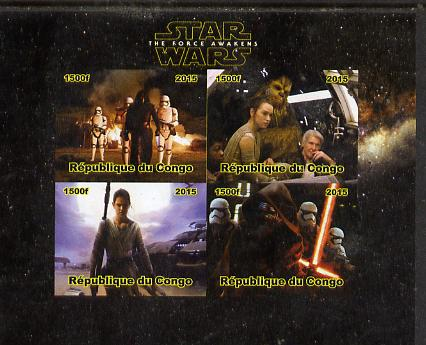 Congo 2015 Star Wars - The Force Awakens #1 imperf sheetlet containing 4 values unmounted mint. Note this item is privately produced and is offered purely on its thematic appeal