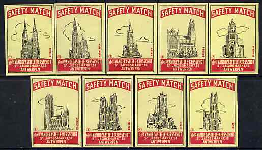 Match Box Labels - complete set of 10 Belgian Cathedrals, superb unused condition (Belgian)
