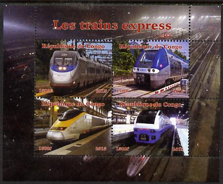 Congo 2015 High Speed Trains perf sheetlet containing 4 values unmounted mint. Note this item is privately produced and is offered purely on its thematic appeal