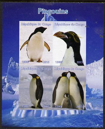 Congo 2015 Penguins im sheetlet containing 4 values unmounted mint. Note this item is privately produced and is offered purely on its thematic appeal
