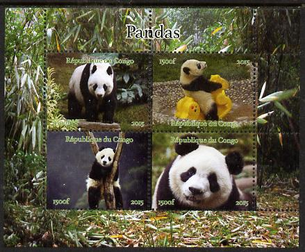 Congo 2015 Pandas perf sheetlet containing 4 values unmounted mint. Note this item is privately produced and is offered purely on its thematic appeal, it has no postal validity